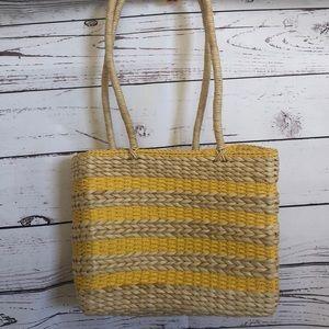 Yellow striped straw tote beach bag